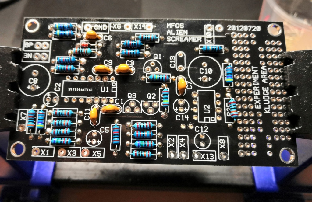 Small resistors and capacitors are installed
